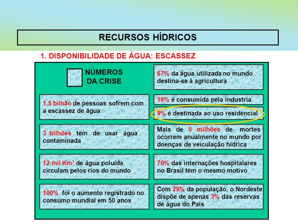 RECURSOS HÍDRICOS 1. DISPONIBILIDADE DE ÁGUA: ESCASSEZ 67% da água utilizada no mundo destina-se à agricultura 1,5 bilhão de pessoas sofrem com a esca