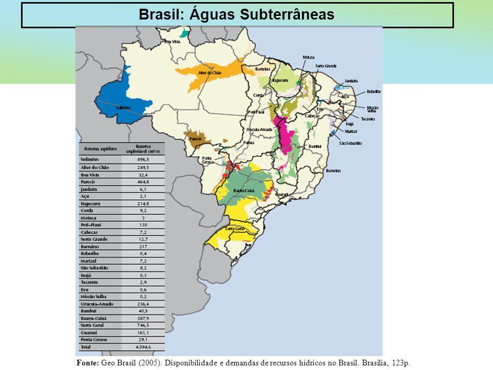 Brasil: Águas Subterrâneas Fonte: Geo Brasil (2005). Disponibilidade e demandas de recursos hídricos no Brasil. Brasília, 123p.