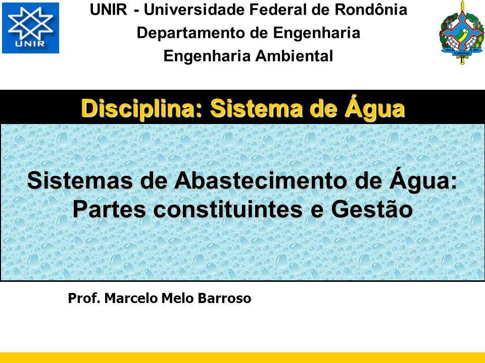 ÁGUA: LEGISLAÇÃO AMBIENTAL LEI 9433/97 Lei dos Recursos Hídricos PORTARIA MS 518/2004 RESOLUÇÃO CONAMA 357 LEI 6938/81 Política Nacional do Meio Ambiente ABNT: Associação Brasileira de Normas Técnicas Certificações Séries ISO 9000, 14000, 8008 LEI n° 11.445/07: Lei do Saneamento Básico Parâmetros Projetos