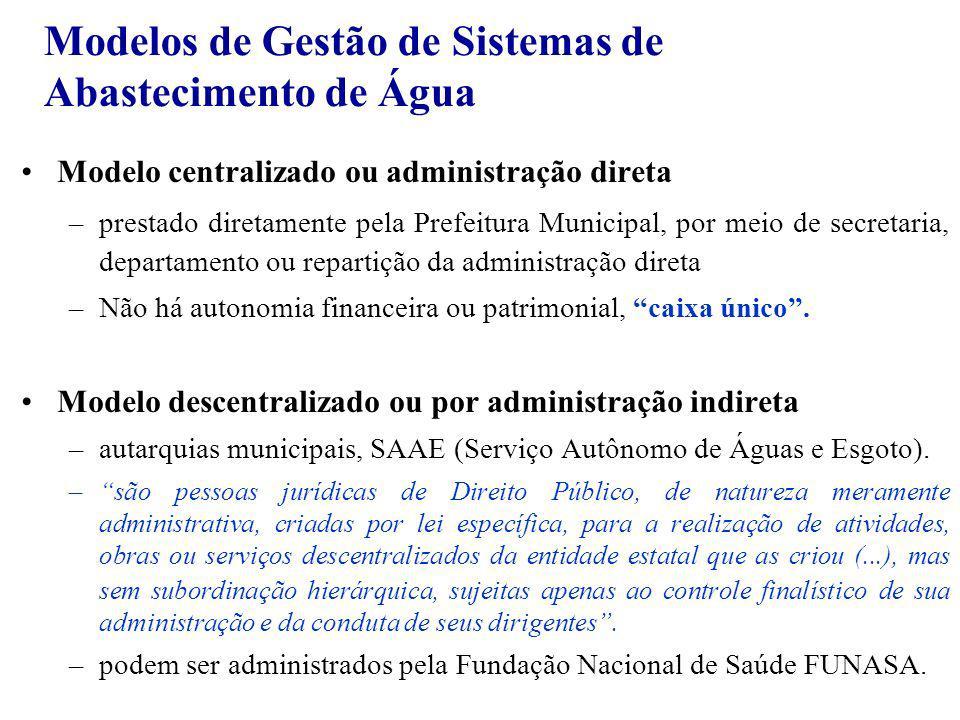 Modelos de Gestão de Sistemas de Abastecimento de Água Modelo centralizado ou administração direta –prestado diretamente pela Prefeitura Municipal, po