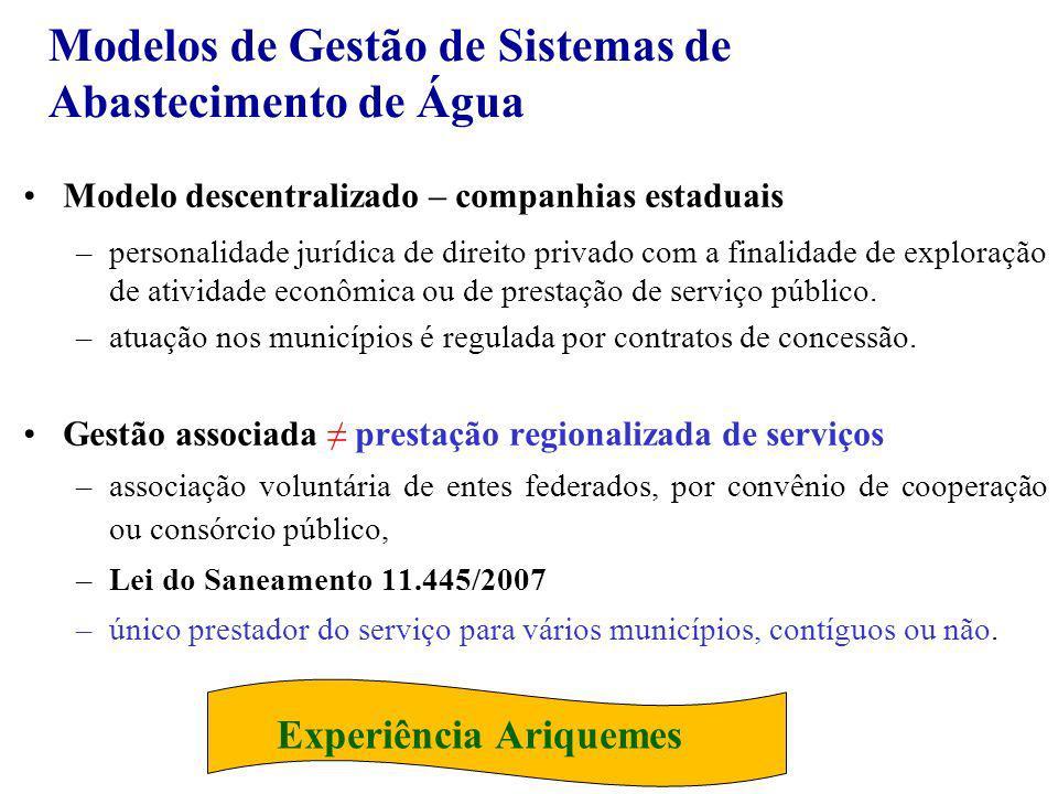 Modelos de Gestão de Sistemas de Abastecimento de Água Modelo descentralizado – companhias estaduais –personalidade jurídica de direito privado com a