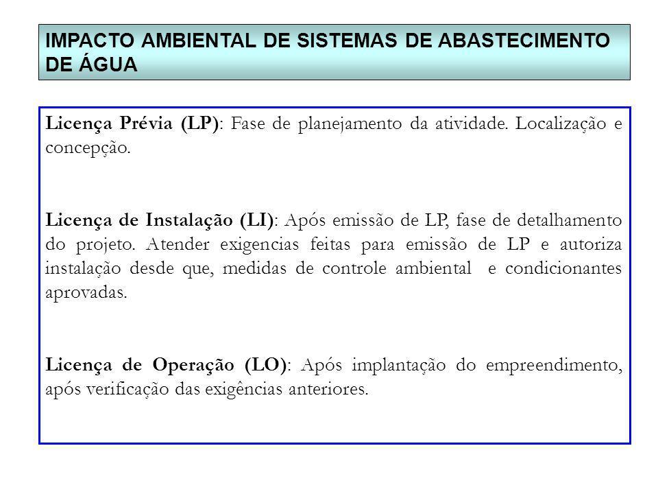 IMPACTO AMBIENTAL DE SISTEMAS DE ABASTECIMENTO DE ÁGUA Licença Prévia (LP): Fase de planejamento da atividade. Localização e concepção. Licença de Ins