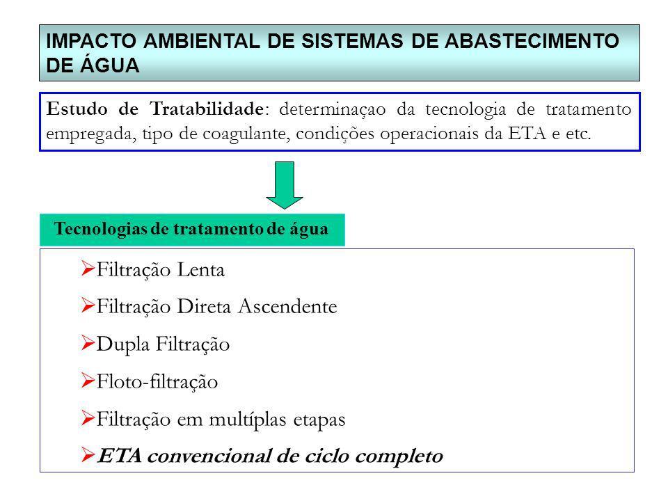 IMPACTO AMBIENTAL DE SISTEMAS DE ABASTECIMENTO DE ÁGUA Estudo de Tratabilidade: determinaçao da tecnologia de tratamento empregada, tipo de coagulante