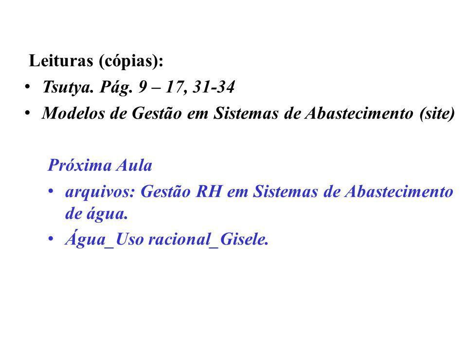Leituras (cópias): Tsutya. Pág. 9 – 17, 31-34 Modelos de Gestão em Sistemas de Abastecimento (site) Próxima Aula arquivos: Gestão RH em Sistemas de Ab