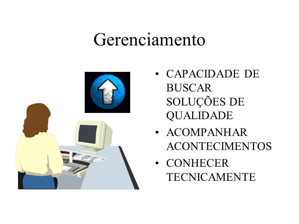 Gerenciamento CAPACIDADE DE BUSCAR SOLUÇÕES DE QUALIDADE ACOMPANHAR ACONTECIMENTOS CONHECER TECNICAMENTE