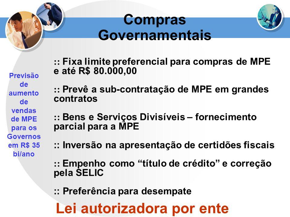 :: Fixa limite preferencial para compras de MPE e até R$ 80.000,00 :: Prevê a sub-contratação de MPE em grandes contratos :: Bens e Serviços Divisívei