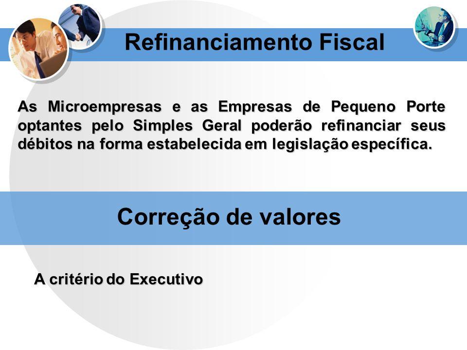 Refinanciamento Fiscal As Microempresas e as Empresas de Pequeno Porte optantes pelo Simples Geral poderão refinanciar seus débitos na forma estabelec