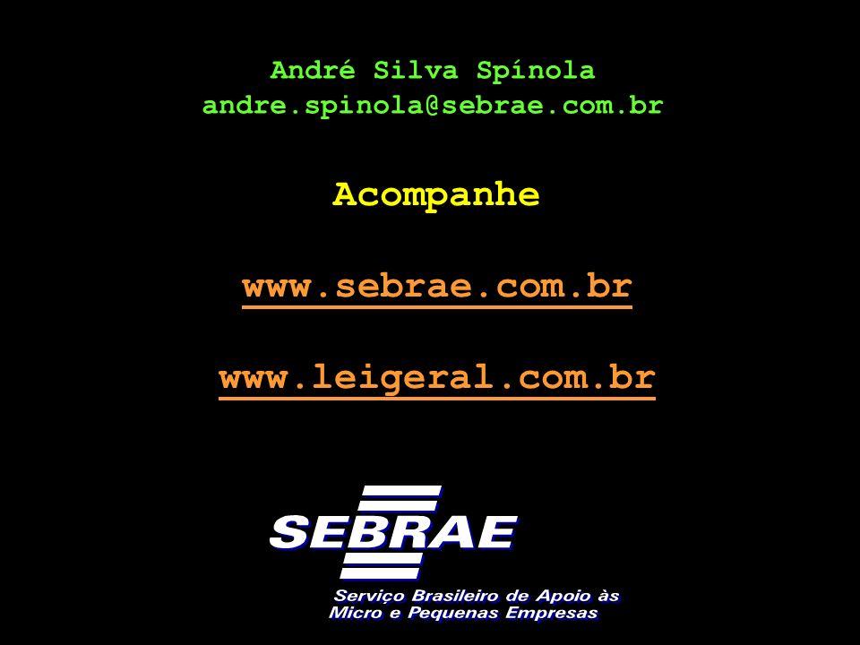 André Silva Spínola andre.spinola@sebrae.com.br Acompanhe www.sebrae.com.br www.leigeral.com.br