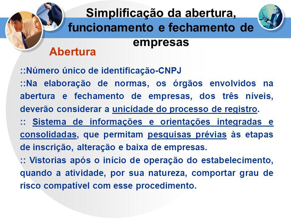 Abertura ::Número único de identificação-CNPJ ::Na elaboração de normas, os órgãos envolvidos na abertura e fechamento de empresas, dos três níveis, d