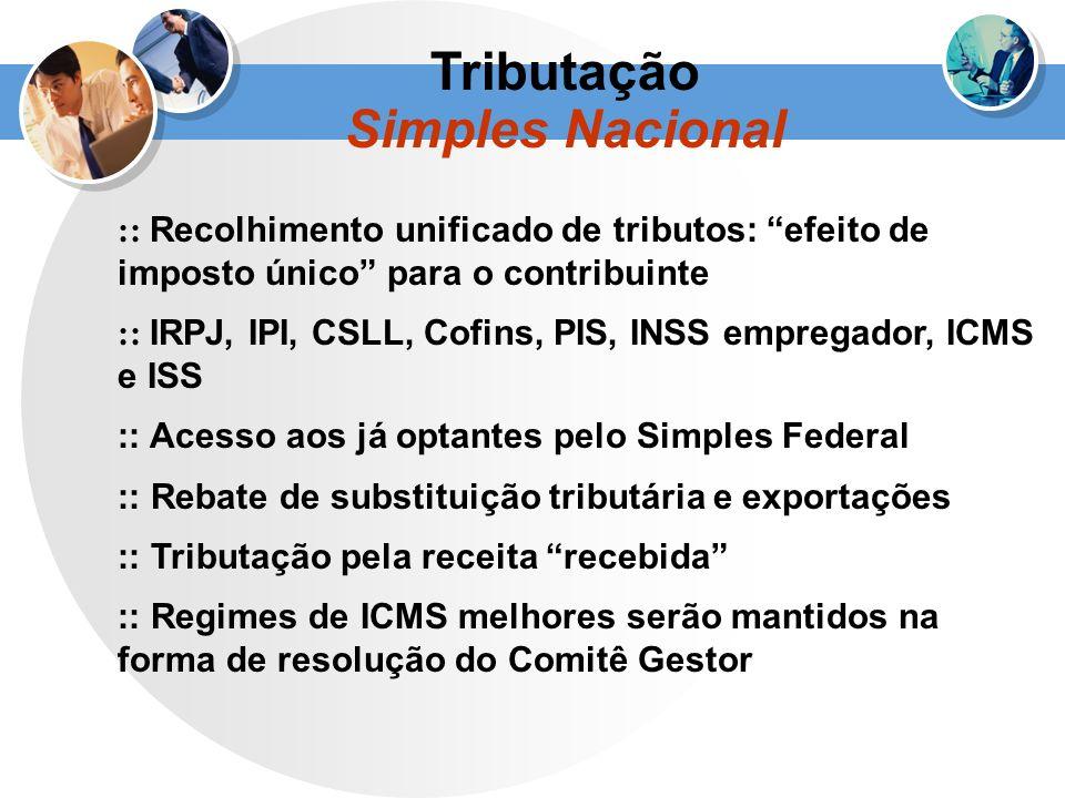 :: Recolhimento unificado de tributos: efeito de imposto único para o contribuinte :: IRPJ, IPI, CSLL, Cofins, PIS, INSS empregador, ICMS e ISS :: Ace