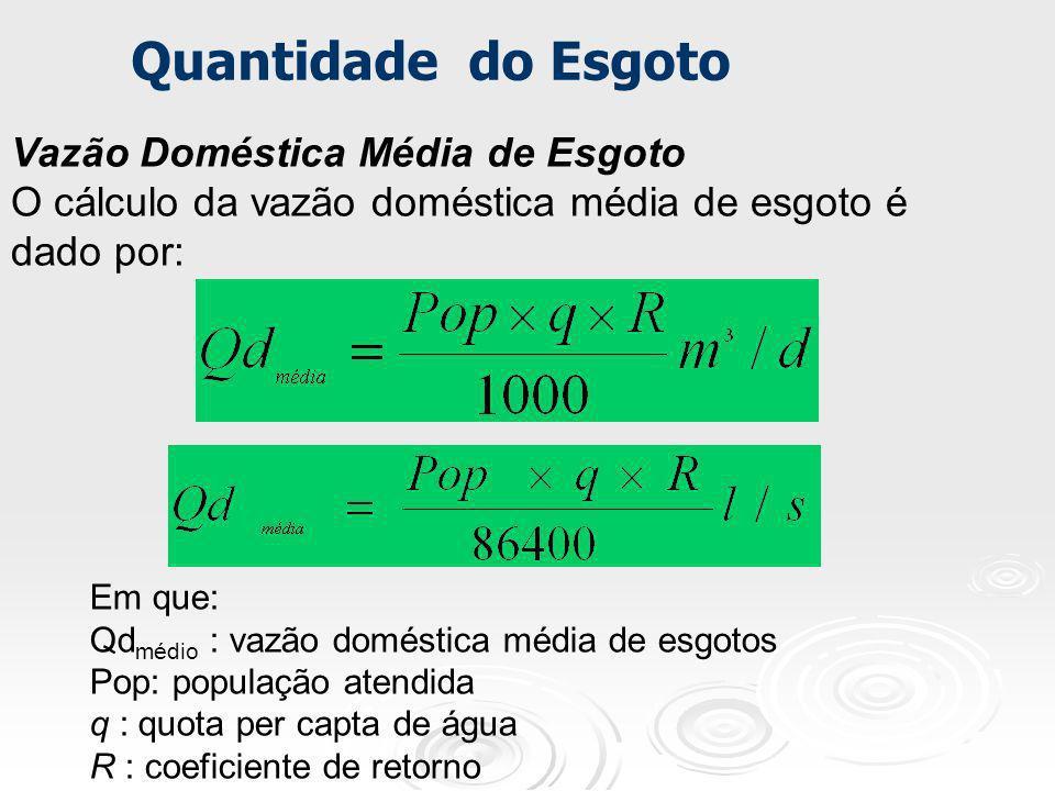 Vazão Doméstica Média de Esgoto O cálculo da vazão doméstica média de esgoto é dado por: Em que: Qd médio : vazão doméstica média de esgotos Pop: popu