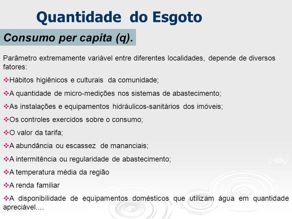 Quantidade do Esgoto Consumo per capita (q). Parâmetro extremamente variável entre diferentes localidades, depende de diversos fatores: Hábitos higiên