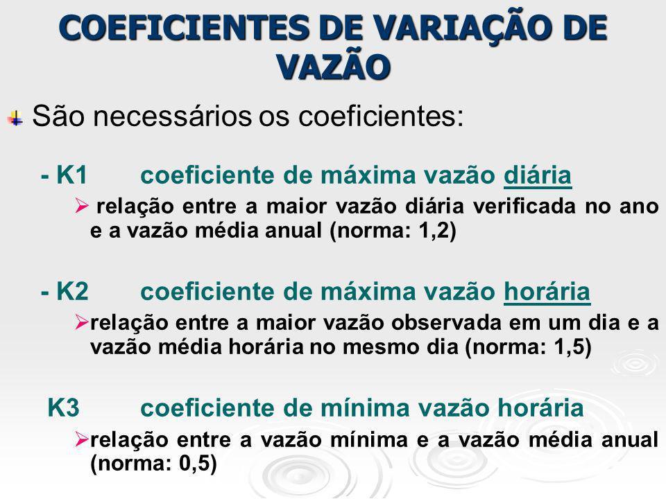 São necessários os coeficientes: - K1coeficiente de máxima vazão diária relação entre a maior vazão diária verificada no ano e a vazão média anual (no
