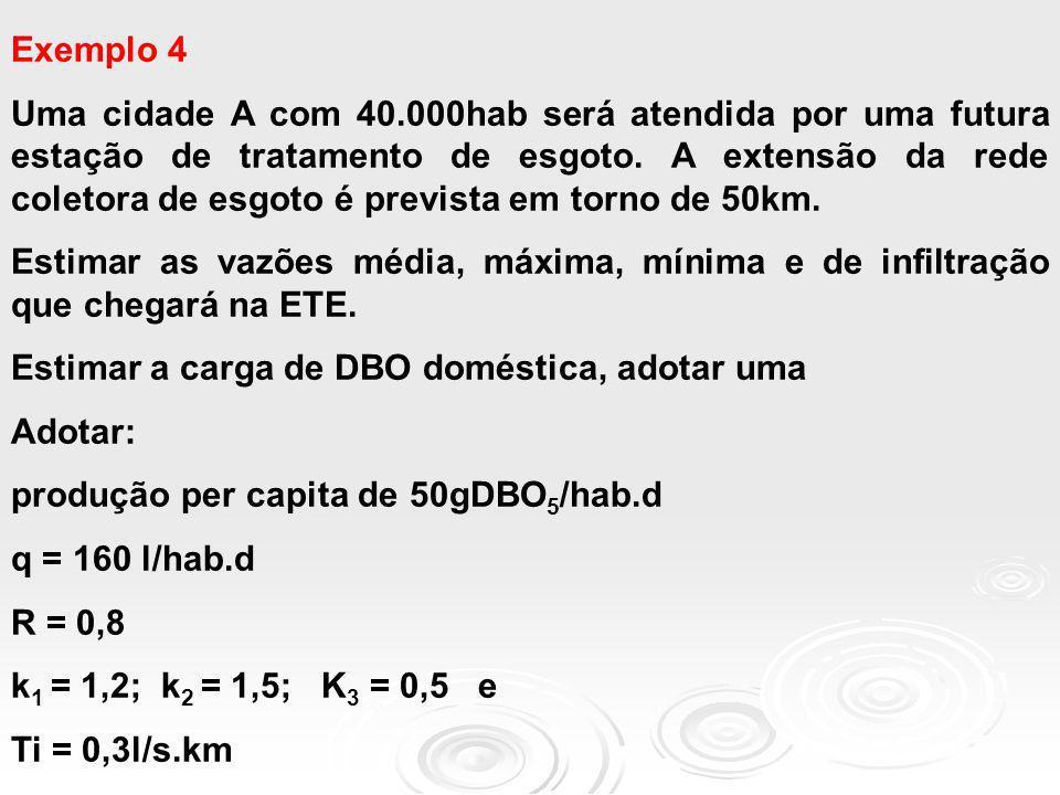 Exemplo 4 Uma cidade A com 40.000hab será atendida por uma futura estação de tratamento de esgoto. A extensão da rede coletora de esgoto é prevista em