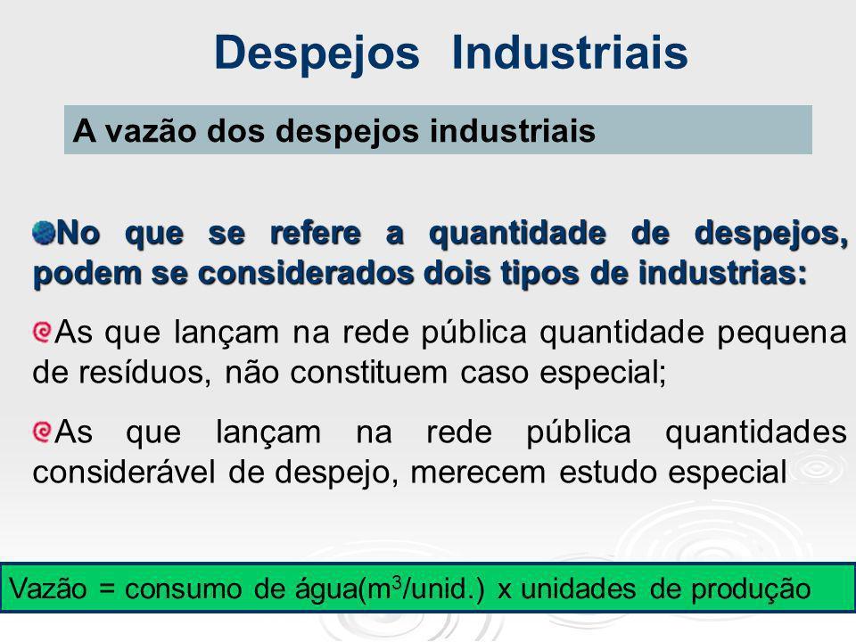 Despejos Industriais A vazão dos despejos industriais No que se refere a quantidade de despejos, podem se considerados dois tipos de industrias: As qu