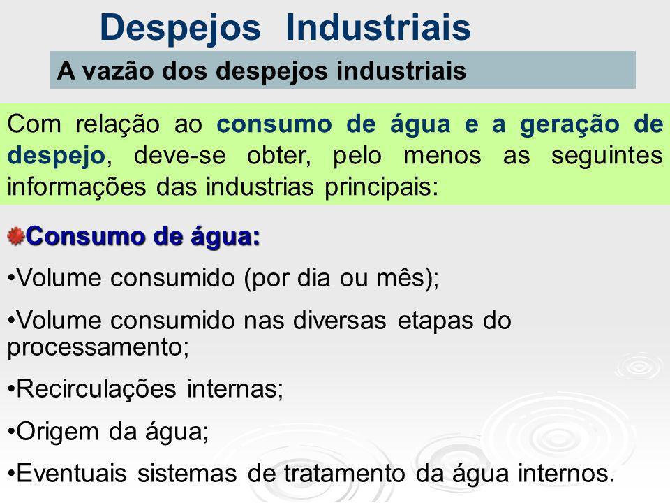 Despejos Industriais A vazão dos despejos industriais Com relação ao consumo de água e a geração de despejo, deve-se obter, pelo menos as seguintes in