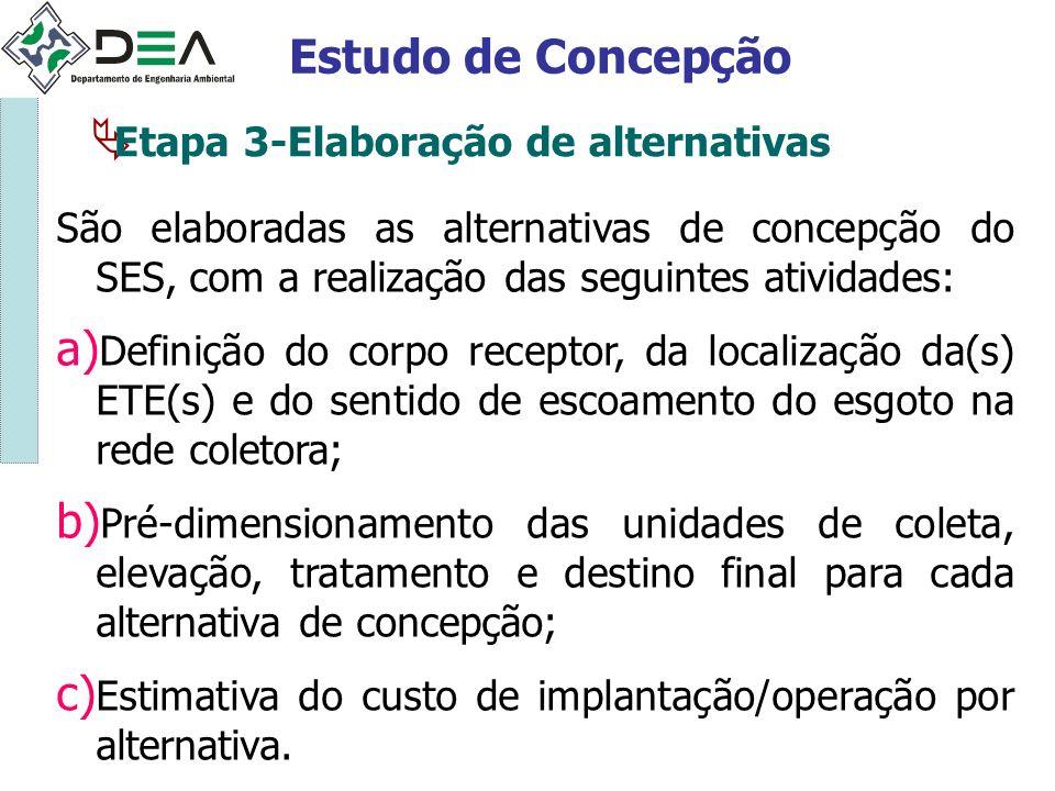 Estudo de Concepção Etapa 3-Elaboração de alternativas São elaboradas as alternativas de concepção do SES, com a realização das seguintes atividades: