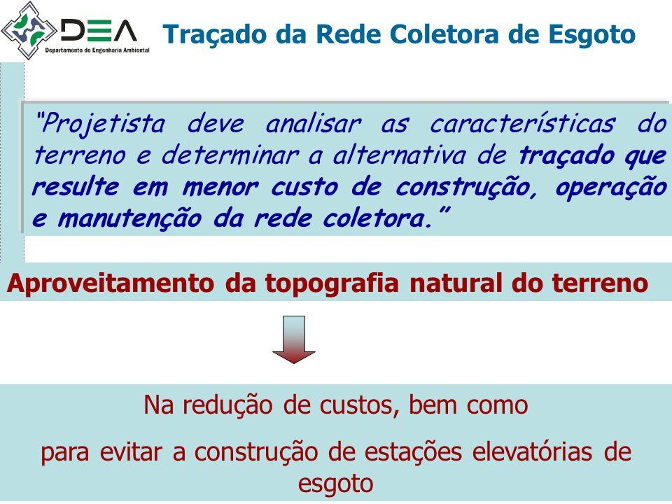 Traçado da Rede Coletora de Esgoto Projetista deve analisar as características do terreno e determinar a alternativa de traçado que resulte em menor c