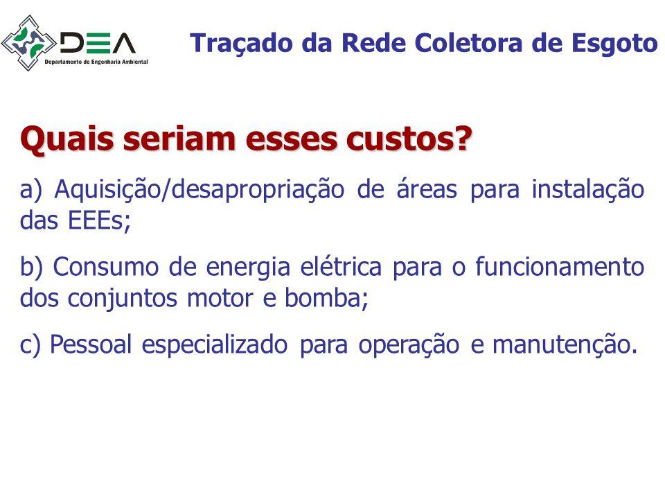 Traçado da Rede Coletora de Esgoto Quais seriam esses custos? a) Aquisição/desapropriação de áreas para instalação das EEEs; b) Consumo de energia elé
