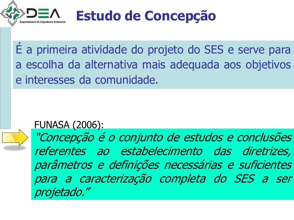 Estudo de Concepção É a primeira atividade do projeto do SES e serve para a escolha da alternativa mais adequada aos objetivos e interesses da comunid