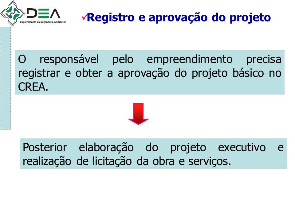 Registro e aprovação do projeto O responsável pelo empreendimento precisa registrar e obter a aprovação do projeto básico no CREA. Posterior elaboraçã