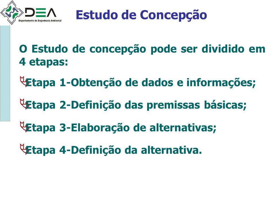 Estudo de Concepção O Estudo de concepção pode ser dividido em 4 etapas: Etapa 1-Obtenção de dados e informações; Etapa 2-Definição das premissas bási