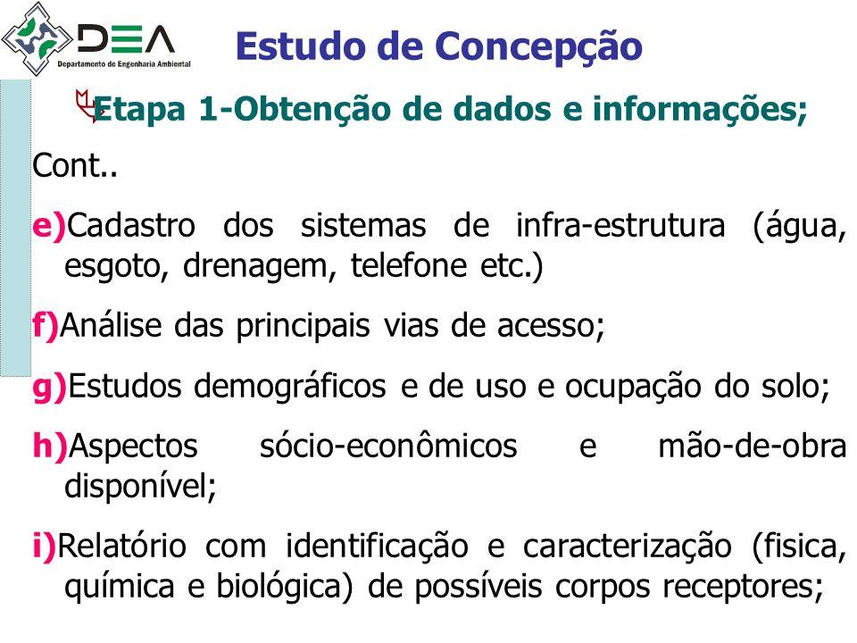 Etapa 1-Obtenção de dados e informações; Estudo de Concepção Cont.. e)Cadastro dos sistemas de infra-estrutura (água, esgoto, drenagem, telefone etc.)