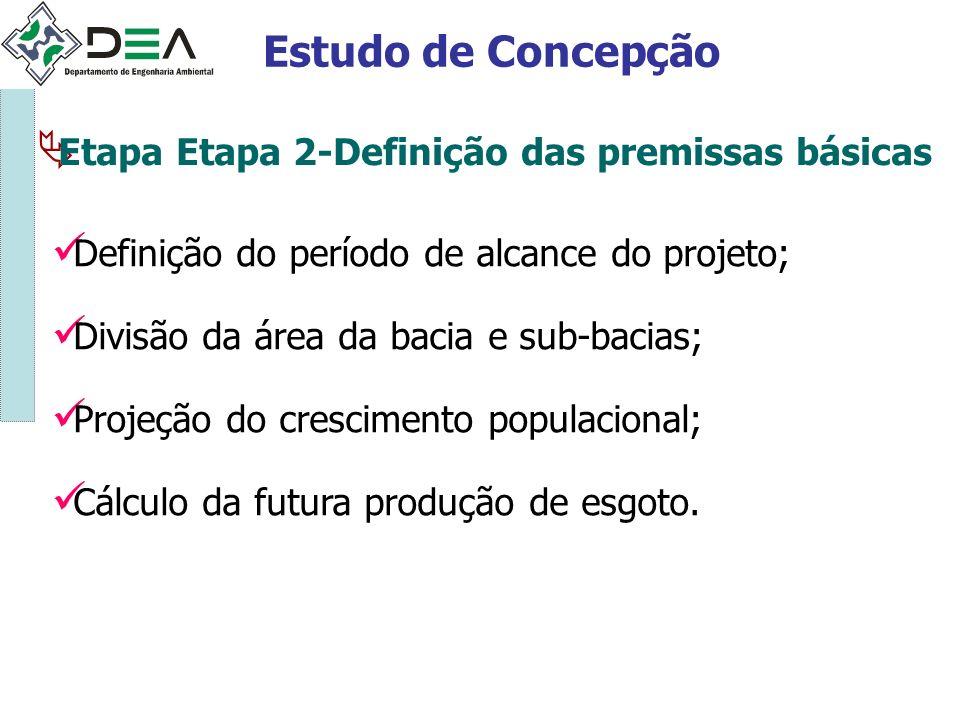 Etapa Etapa 2-Definição das premissas básicas Estudo de Concepção Definição do período de alcance do projeto; Divisão da área da bacia e sub-bacias; P