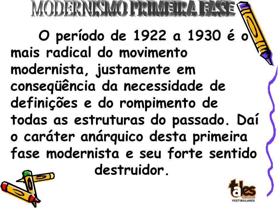 O período de 1922 a 1930 é o mais radical do movimento modernista, justamente em conseqüência da necessidade de definições e do rompimento de todas as