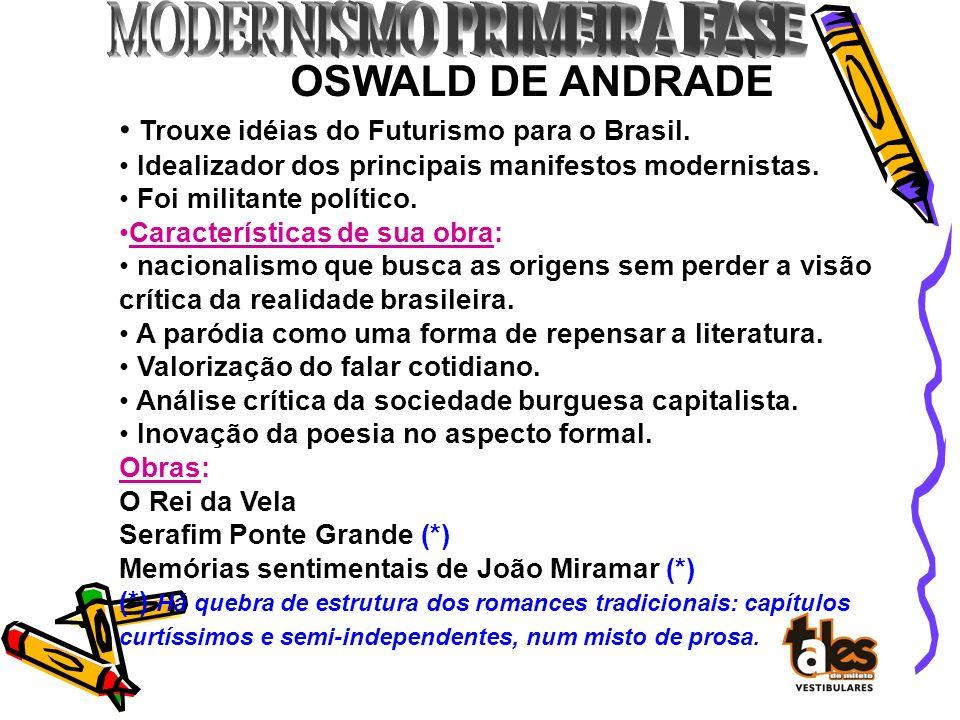 OSWALD DE ANDRADE Trouxe idéias do Futurismo para o Brasil. Idealizador dos principais manifestos modernistas. Foi militante político. Características