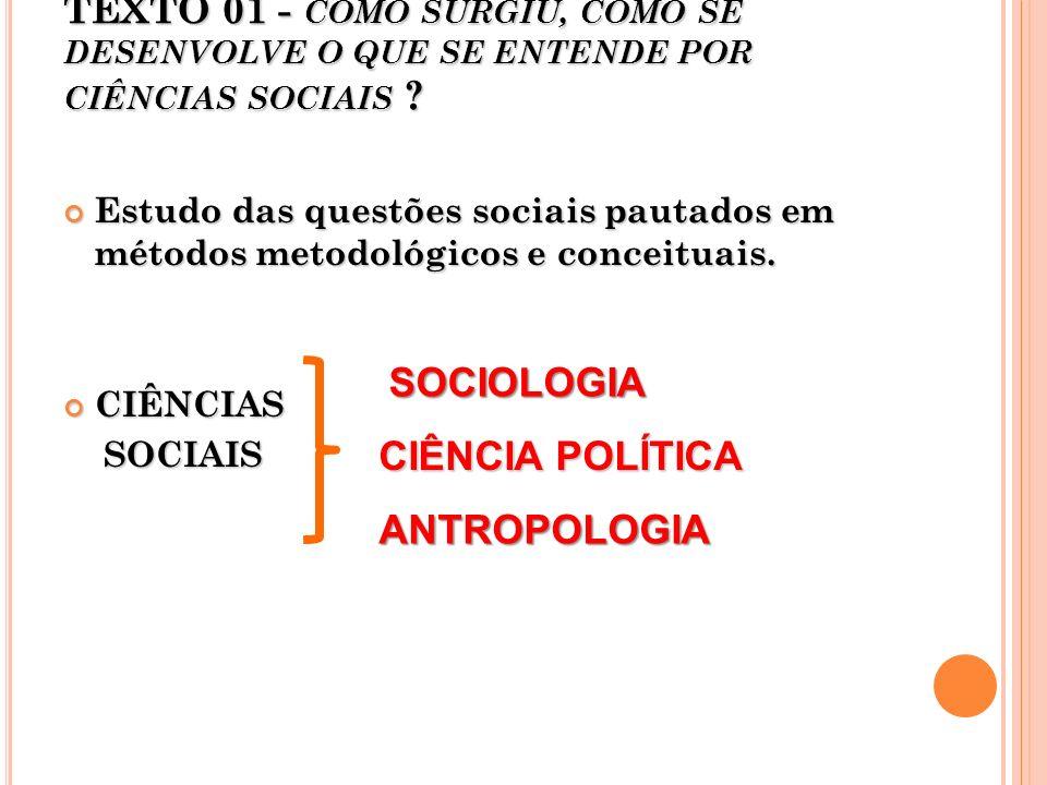 TEXTO 01 - COMO SURGIU, COMO SE DESENVOLVE O QUE SE ENTENDE POR CIÊNCIAS SOCIAIS ? Estudo das questões sociais pautados em métodos metodológicos e con
