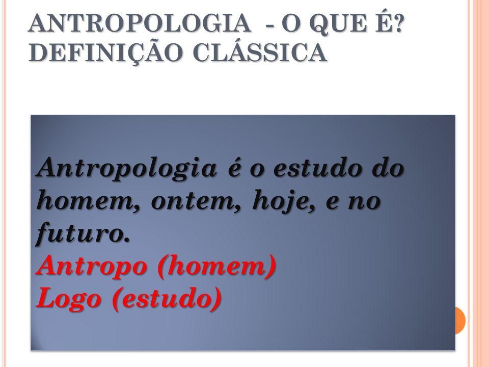 Antropologia é o estudo do homem, ontem, hoje, e no futuro. Antropo (homem) Logo (estudo) Antropologia é o estudo do homem, ontem, hoje, e no futuro.