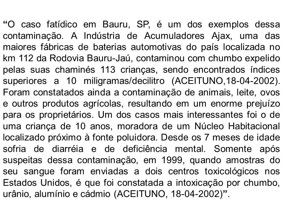 O caso fatídico em Bauru, SP, é um dos exemplos dessa contaminação. A Indústria de Acumuladores Ajax, uma das maiores fábricas de baterias automotivas