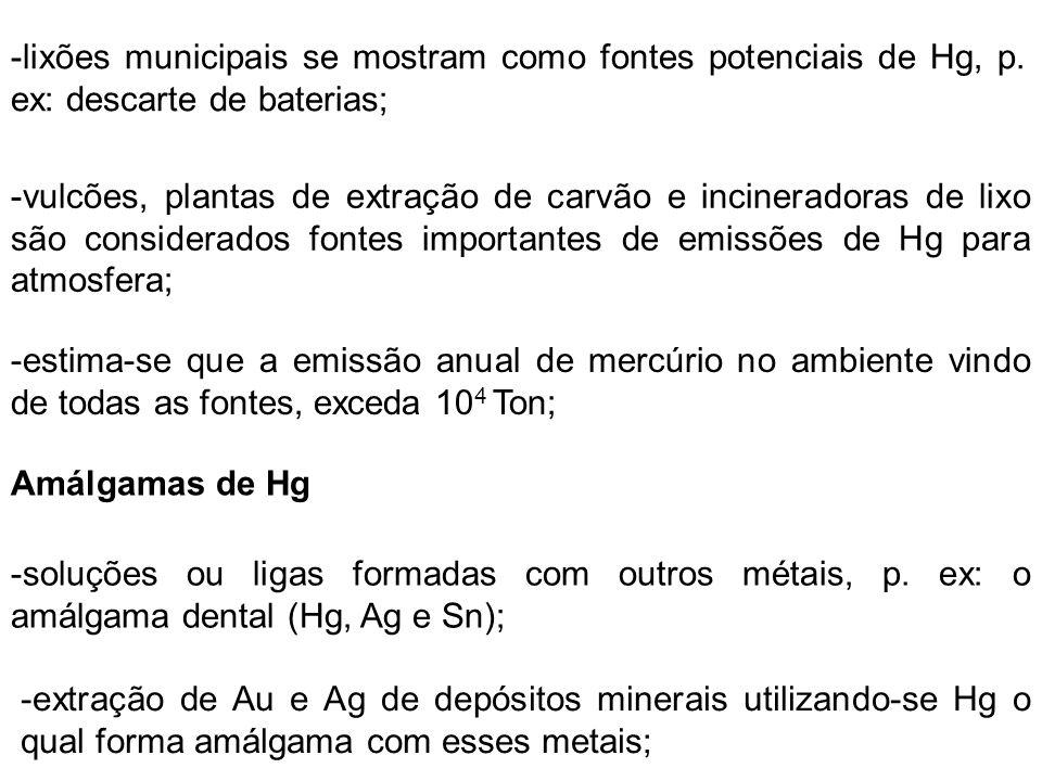 -no Brasil, o procedimento de extração é realizado com muita frequência na região Amazônica, trazendo grandes riscos à saúde das pessoas envolvidas e da comunidade; A Formação de Metilmercúrio -capacidade de formar ligações covalentes confere ao íon mercúrico (Hg 2+ ) a possibilidade de se ligar com o ânion metila (CH 3 - ) originando o dimetilmercúrio (Hg(CH 3 ) 2 ), um líquido molecular volátil; -esse processo ocorre nos sedimentos de rios e lagos em condições anaeróbicas quando bactérias e microorganismos convertem Hg 2+ em (Hg(CH 3 ) 2 ); -maior parte do Hg presente em seres humanos encontra-se na forma de metilmercúrio e quase todo ele é proveniente da alimentação do peixe que compõe nossa dieta alimentar;
