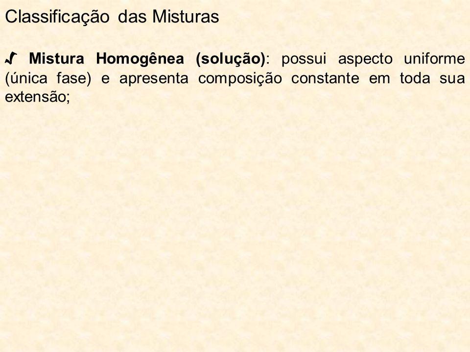 Mistura Homogênea (solução): possui aspecto uniforme (única fase) e apresenta composição constante em toda sua extensão; Classificação das Misturas