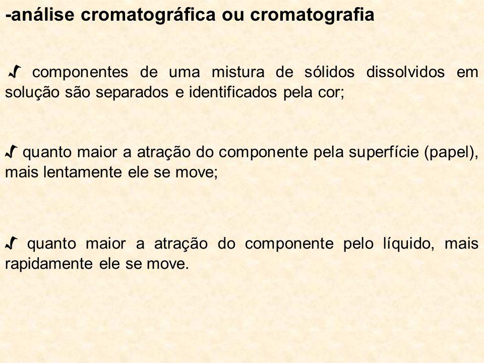 -análise cromatográfica ou cromatografia quanto maior a atração do componente pelo líquido, mais rapidamente ele se move. componentes de uma mistura d