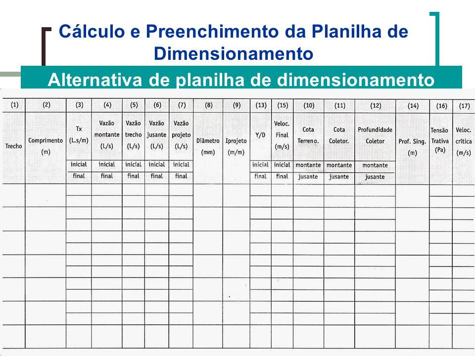 Cálculo e Preenchimento da Planilha de Dimensionamento Alternativa de planilha de dimensionamento