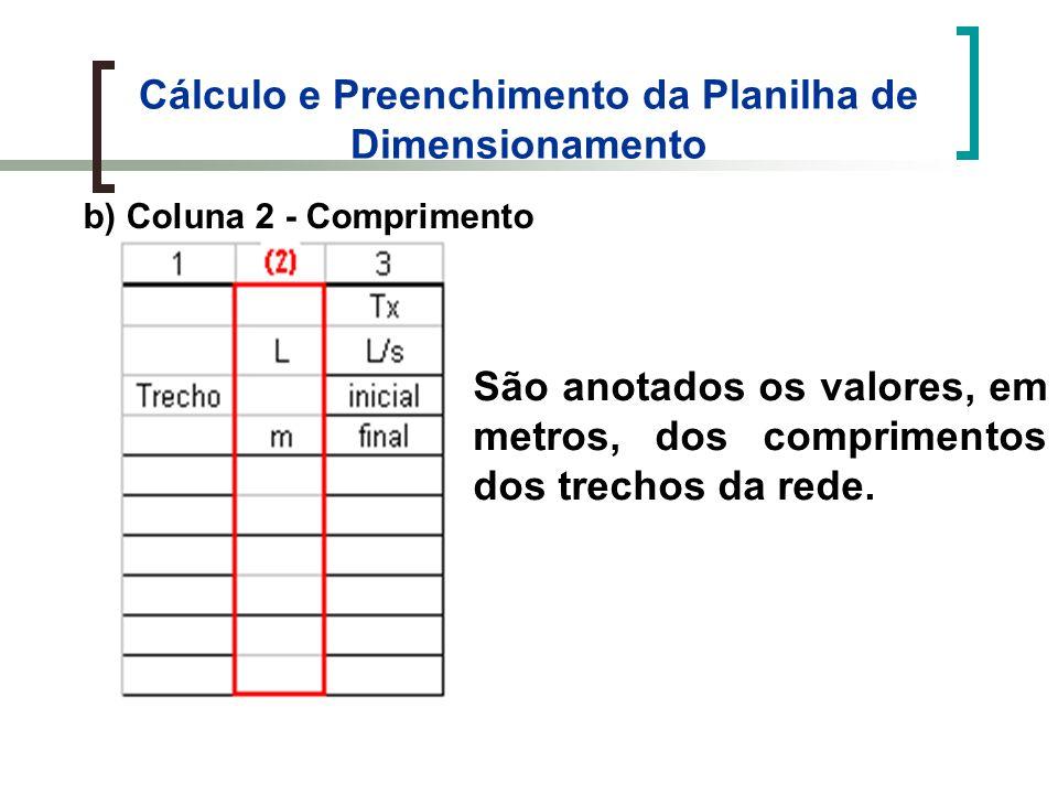 Cálculo e Preenchimento da Planilha de Dimensionamento b) Coluna 2 - Comprimento São anotados os valores, em metros, dos comprimentos dos trechos da rede.