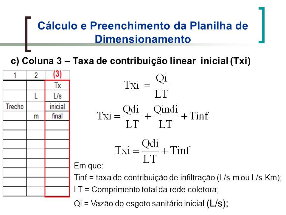 Cálculo e Preenchimento da Planilha de Dimensionamento c) Coluna 3 – Taxa de contribuição linear inicial (Txi) Em que: Tinf = taxa de contribuição de infiltração (L/s.m ou L/s.Km); LT = Comprimento total da rede coletora; Qi = Vazão do esgoto sanitário inicial (L/s);