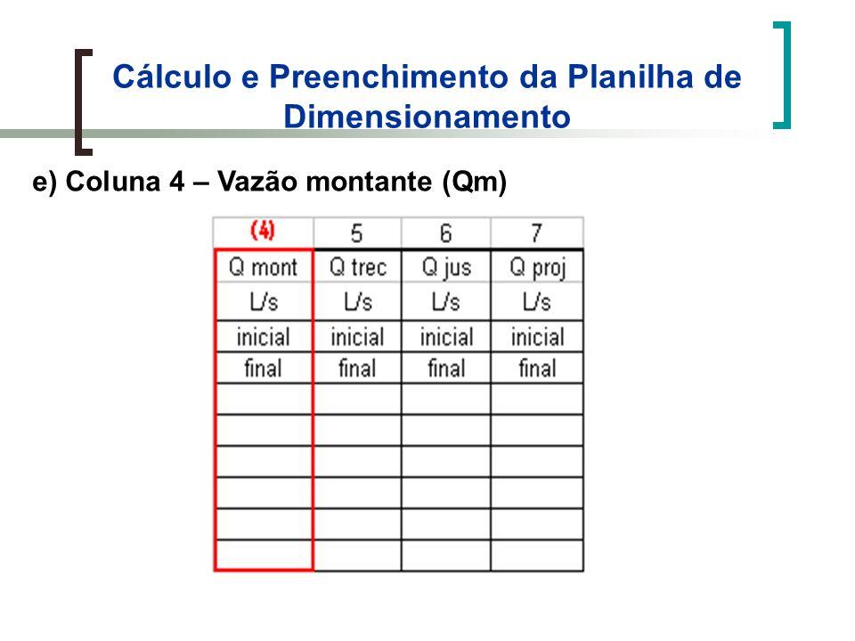 Cálculo e Preenchimento da Planilha de Dimensionamento e) Coluna 4 – Vazão montante (Qm)
