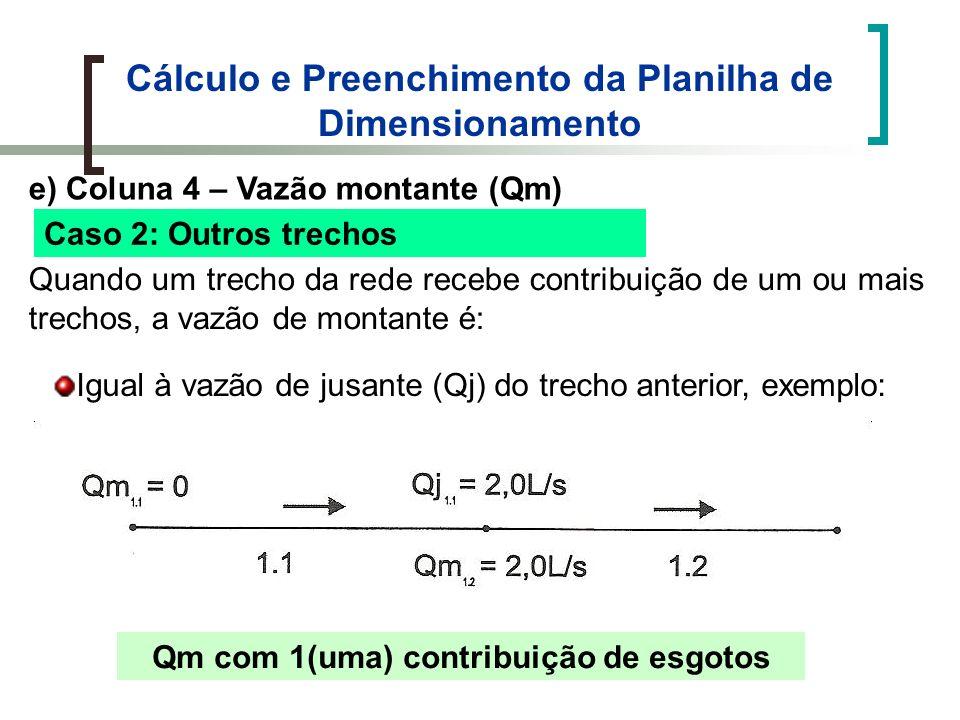Cálculo e Preenchimento da Planilha de Dimensionamento e) Coluna 4 – Vazão montante (Qm) Caso 2: Outros trechos Quando um trecho da rede recebe contribuição de um ou mais trechos, a vazão de montante é: Igual à vazão de jusante (Qj) do trecho anterior, exemplo: Qm com 1(uma) contribuição de esgotos