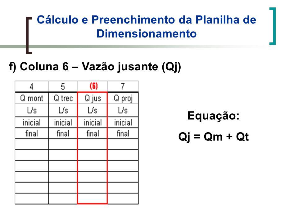 Cálculo e Preenchimento da Planilha de Dimensionamento f) Coluna 6 – Vazão jusante (Qj) Equação: Qj = Qm + Qt