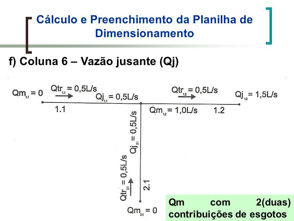 Cálculo e Preenchimento da Planilha de Dimensionamento f) Coluna 6 – Vazão jusante (Qj) Qm com 2(duas) contribuições de esgotos