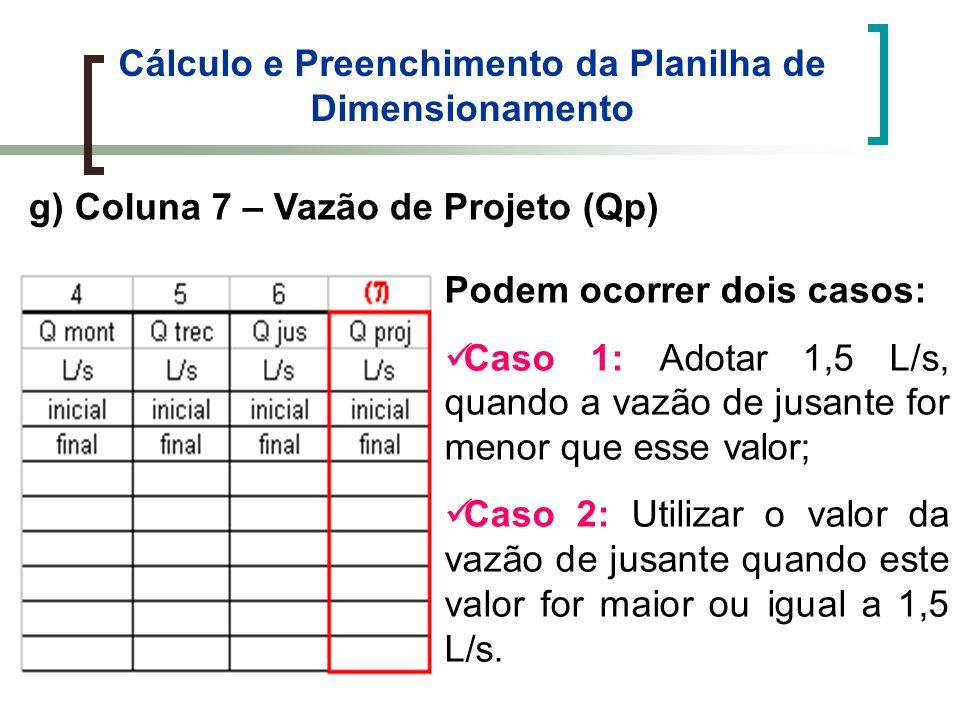 Cálculo e Preenchimento da Planilha de Dimensionamento g) Coluna 7 – Vazão de Projeto (Qp) Podem ocorrer dois casos: Caso 1: Adotar 1,5 L/s, quando a vazão de jusante for menor que esse valor; Caso 2: Utilizar o valor da vazão de jusante quando este valor for maior ou igual a 1,5 L/s.