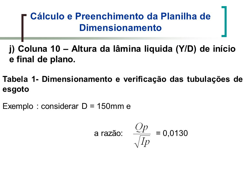 Tabela 1- Dimensionamento e verificação das tubulações de esgoto Cálculo e Preenchimento da Planilha de Dimensionamento j) Coluna 10 – Altura da lâmina liquida (Y/D) de início e final de plano.