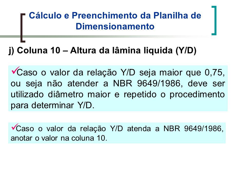 Cálculo e Preenchimento da Planilha de Dimensionamento j) Coluna 10 – Altura da lâmina liquida (Y/D) Caso o valor da relação Y/D seja maior que 0,75, ou seja não atender a NBR 9649/1986, deve ser utilizado diâmetro maior e repetido o procedimento para determinar Y/D.
