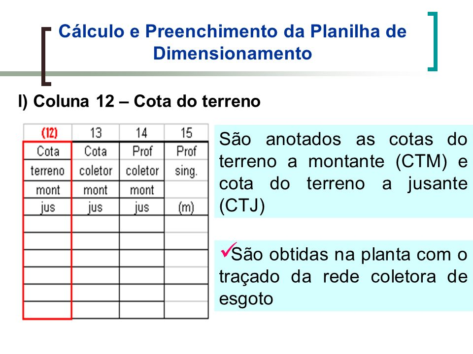 Cálculo e Preenchimento da Planilha de Dimensionamento l) Coluna 12 – Cota do terreno São anotados as cotas do terreno a montante (CTM) e cota do terr