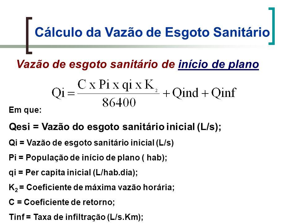 Cálculo e Preenchimento da Planilha de Dimensionamento d) Coluna 5 – Vazão do trecho no início do plano (Qti) Em que: Txi = taxa de contribuição linear de início do plano (L/s.m); Lt = comprimento do trecho (m)