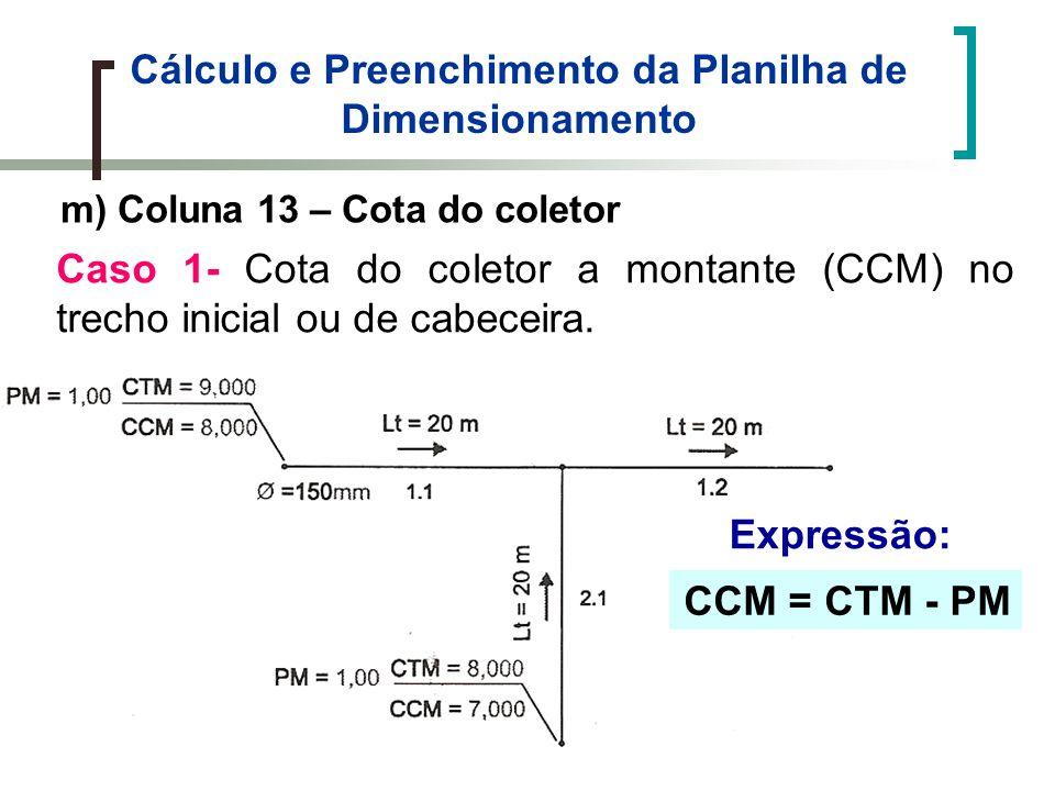 Cálculo e Preenchimento da Planilha de Dimensionamento m) Coluna 13 – Cota do coletor Caso 1- Cota do coletor a montante (CCM) no trecho inicial ou de cabeceira.