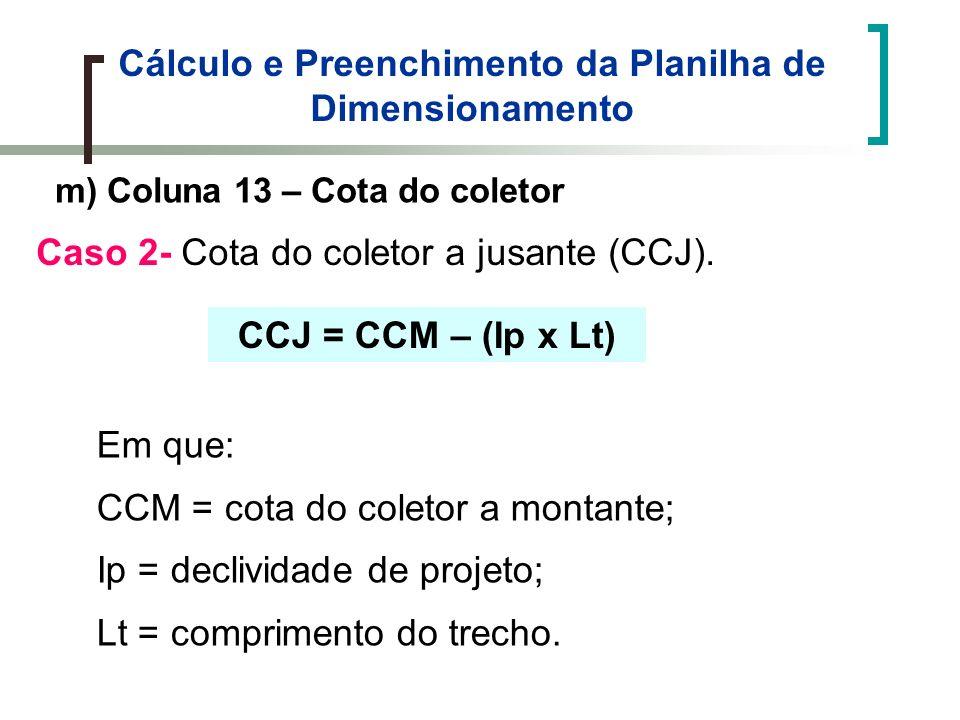 Cálculo e Preenchimento da Planilha de Dimensionamento m) Coluna 13 – Cota do coletor Caso 2- Cota do coletor a jusante (CCJ).
